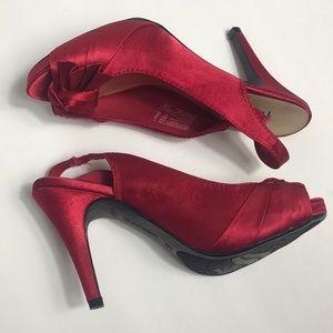 Fioni Night Shoes - Fioni Night Red Open-Toe Slingback Heels